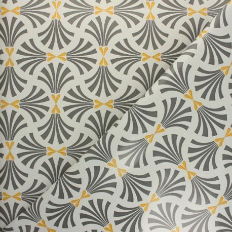 Tissu toile cirée Palmier - moutarde x 10cm