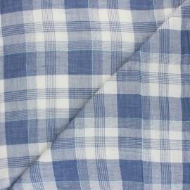 Tartan Double cotton gauze fabric - blue Arnold x 10cm