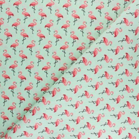 Tissu coton crétonne Flamingo - turquoise/rose x 10cm