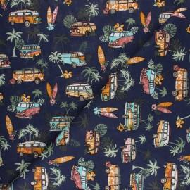 Cretonne cotton fabric - navy hawaiian van x 10cm