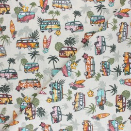 Tissu coton cretonne Hawaiian Van - écru x 10cm