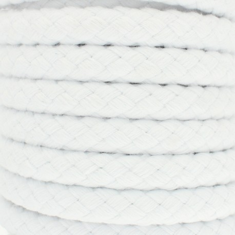 15 mm braided cord - White Thick x 1m
