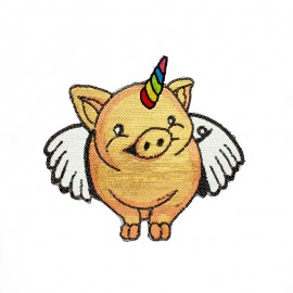 XL Sew on Patch - Gold Unicorn Pig