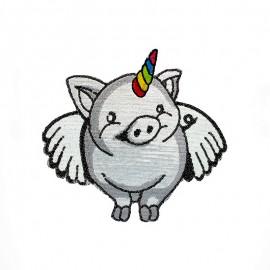 Écusson à Coudre Cochon Licorne XL - Argent