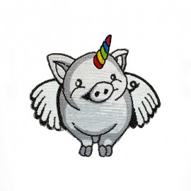 XL Sew on Patch - Silver Unicorn Pig