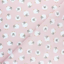 Tissu coton cretonne Sergio le lama - rose x 10cm