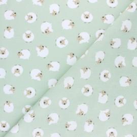 Tissu coton cretonne Joli mouton - vert amande x 10cm