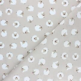 Cretonne cotton fabric - almond green Joli mouton x 10cm