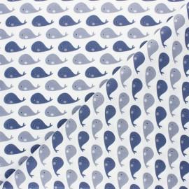 Cretonne cotton fabric - Beige Tiny whale x 10cm