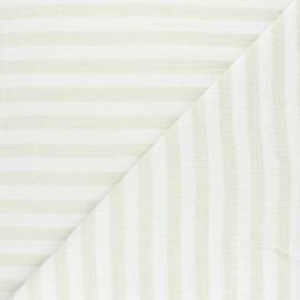 Double gauze cotton fabric - opaline green zebra x 10cm