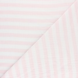 Striped Double gauze cotton fabric - opaline green x 10cm