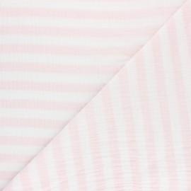 Tissu double gaze de coton rayé - opaline x 10cm