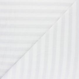 Tissu double gaze de coton rayé - rose pâle x 10cm