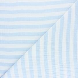 Tissu double gaze de coton rayé - gris clair x 10cm