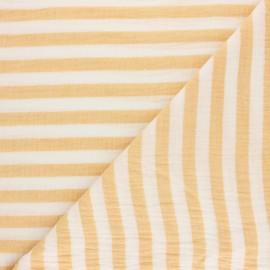 Tissu double gaze de coton rayé - bleu clair x 10cm