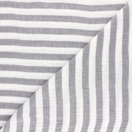 Striped Double gauze cotton fabric - light grey x 10cm