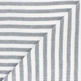 Tissu double gaze de coton rayé - eucalyptus x 10cm