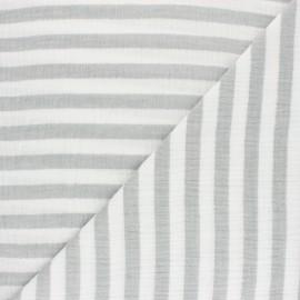 Tissu double gaze de coton rayé - gris x 10cm