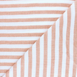 Tissu double gaze de coton rayé - jaune x 10cm