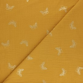 Tissu double gaze de coton plume dorée - Moutarde x 10cm