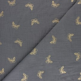 Double cotton gauze fabric - Mustard Gold Butterfly x 10cm