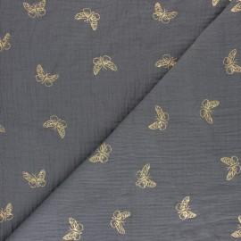 Tissu double gaze de coton papillon doré - Moutarde x 10cm