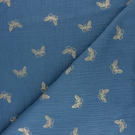 Tissu double gaze de coton papillon doré - gris x 10cm
