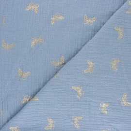 Double cotton gauze fabric - Swell blue Gold Butterfly x 10cm