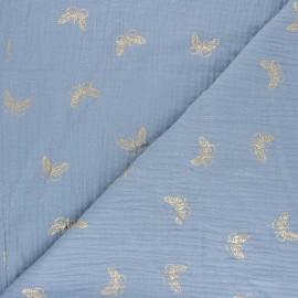 Tissu double gaze de coton papillon doré - bleu houle x 10cm