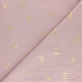 Tissu double gaze de coton papillon doré - gris clair x 10cm