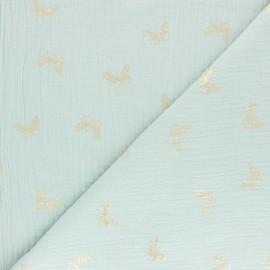 Tissu double gaze de coton papillon doré - eau de rose x 10cm