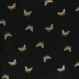Tissu double gaze de coton papillon doré - Bois de rose x 10cm