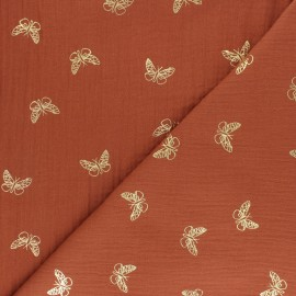 Double cotton gauze fabric - Rosewood Gold Butterfly x 10cm