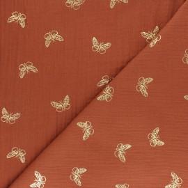 Tissu double gaze de coton papillon doré - noir x 10cm