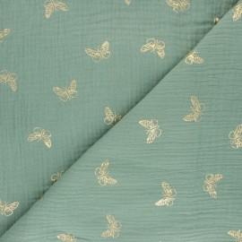 Tissu double gaze de coton papillon doré - Rouille x 10cm