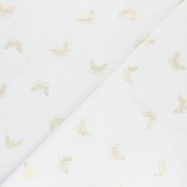 Tissu double gaze de coton papillon doré - Eucalyptus x 10cm