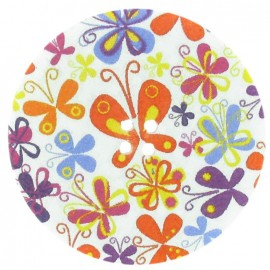 Wooden Button, Fantasy 50 mm, butterfly drawing - multicolored