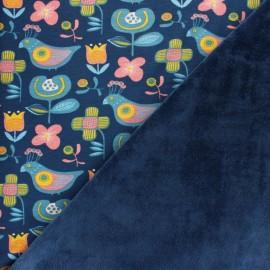 Tissu sweat envers minkee Bird Power - bleu x 10cm
