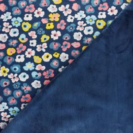 Sweatshirt fabric with minkee - blue Flower Lover x 10cm