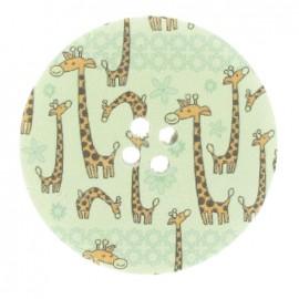 Wooden button, Fantasy, giraffes 40 mm - multicolored