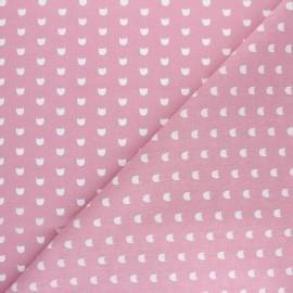 Tissu coton cretonne Hérisson - rose x 10cm
