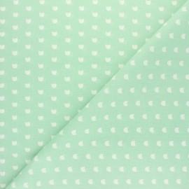 Cretonne cotton fabric - Almond green Mistigri x 10cm