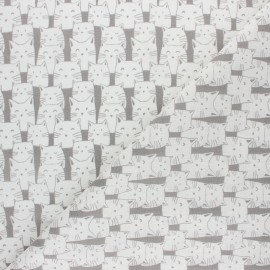 Cretonne cotton fabric - Bluish grey Mistigri x 10cm
