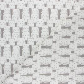Tissu coton cretonne Mistigri - taupe x 10cm