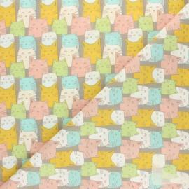 Tissu coton cretonne Funny cat - taupe x 10cm