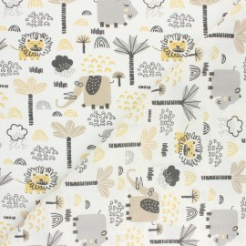 Tissu coton cretonne Petite baleine - beige x 10cm