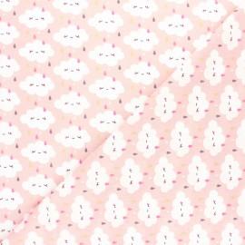 Cretonne cotton fabric - pink Rainy Day x 10cm