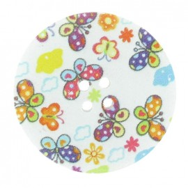 Wooden button, Fantasy, butterflies 40 mm - multicolored