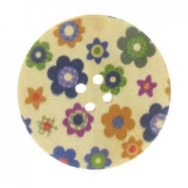 Wooden button, Fantasy 38 mm little flowers - multicolored