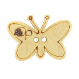 Wooden button, butterfly - natural